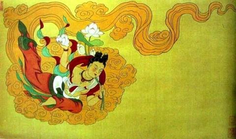 敦煌莫高窟壁画—莲花飞天(3窟-元)图片